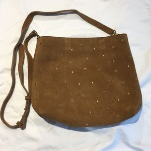 Madewell brown suede transport tote